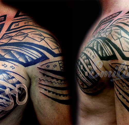 Polynesian Shoulder and Half Chest Tattoo