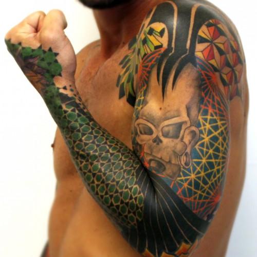 Geometric Colorful Sleeve Tattoo (In progress) - Balinese Tattoo Miami