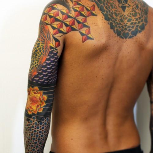 Geometric Colorful Sleeve Tattoo Back - Balinese Tattoo Miami