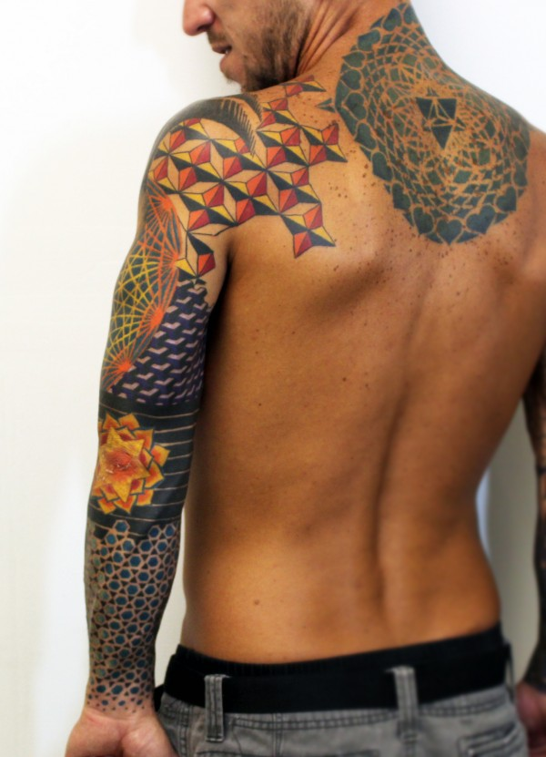 5097d7209a72c Geometric Colorful Sleeve Tattoo Back - Balinese Tattoo Miami