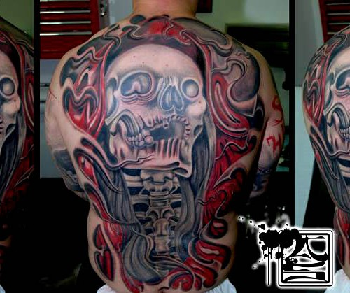Artistic Colorful Back Tattoo - Balinese Tattoo Miami