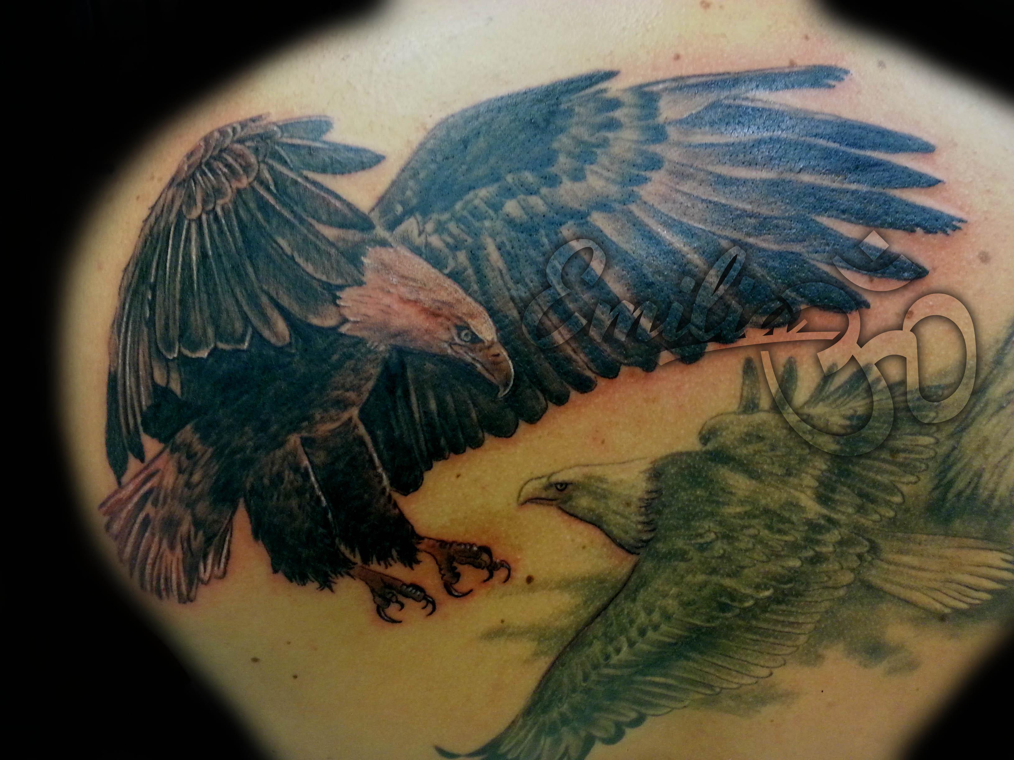 Realistic Black & White Eagle Tattoo - Balinese Tattoo Miami